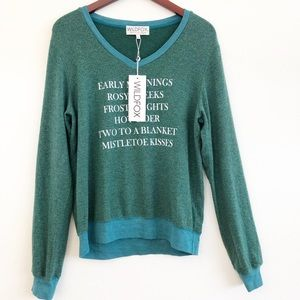 """NWT WILDFOX """"Early Mornings Rosy Cheeks"""" Top SZ L"""